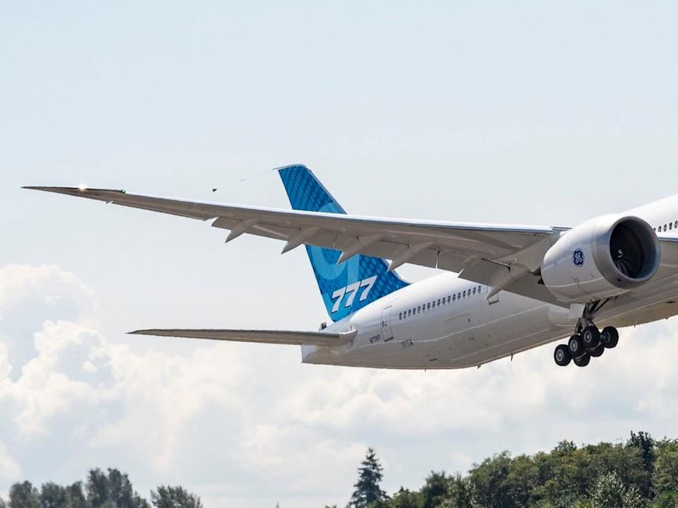 Boeing's third 777X aircraft departing on a test flight.