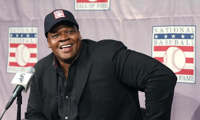 FILE - In this Jan. 8, 2014, file photo, Frank Thomas smiles as he listens to a question during a news conference in Chicago about his election to the Baseball Hall Of Fame. Thomas is moving up to the broadcasting big leagues. Thomas will join Greg Maddux and Tom Glavine as players inducted into the Hall of Fame this summer. He said Saturday, Feb. 22, he is completing details on an agreement to work this season as a studio baseball analyst for Fox Sports 1, based in Los Angeles. (AP Photo/Charles Rex Arbogast, File)