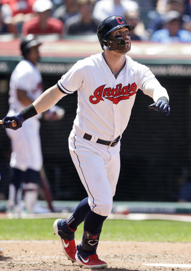 Cleveland Indians' Tyler Naquin watches his ball after hitting a solo home run in the fourth inning in a baseball game against the Kansas City Royals Wednesday, June 26, 2019, in Cleveland. (AP Photo/Tony Dejak)