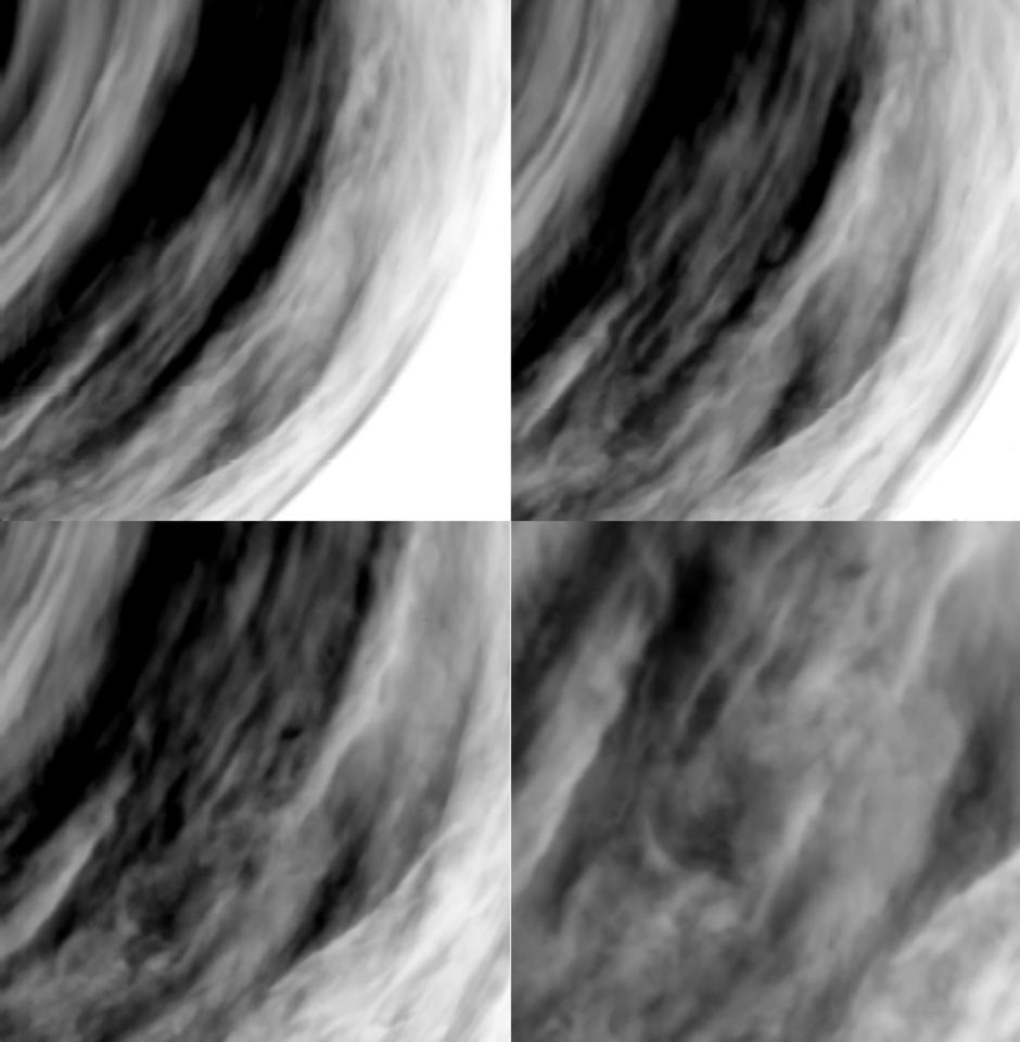 This combination image shows four different views of the Venusian cloud system. The images were acquired on 24 September 2006 by the Ultraviolet, Visible and Near-Infrared Mapping Spectrometer (VIRTIS) on board ESA?s Venus Express, from distances of about 65,000 km (top left), 60,000 km (top right), 53,000 km (bottom left) and 37,000 km (bottom right) from the planet?s surface. The images, showing a complex cloud system, were taken on the night-side of Venus (04:00 local time), at a wavelength of 1.7 micron that allows viewing the deep atmospheric layers. The grey-scale of the images is such that black means more transparency, therefore less clouds, while white means more opacity, therefore more cloud concentration.  REUTERS/ESA/VIRTIS/INAF-IASF/Obs. de Paris-LESIA/Handout.  EDITORIAL USE ONLY. NOT FOR SALE FOR MARKETING OR ADVERTISING CAMPAIGNS.