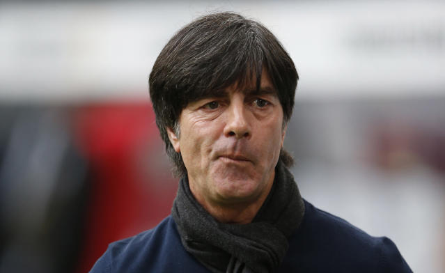 German head coach Joachim Loew arrives for a friendly soccer match between Germany and Poland in Hamburg, Germany, Tuesday, May 13, 2014. (AP Photo/Matthias Schrader)
