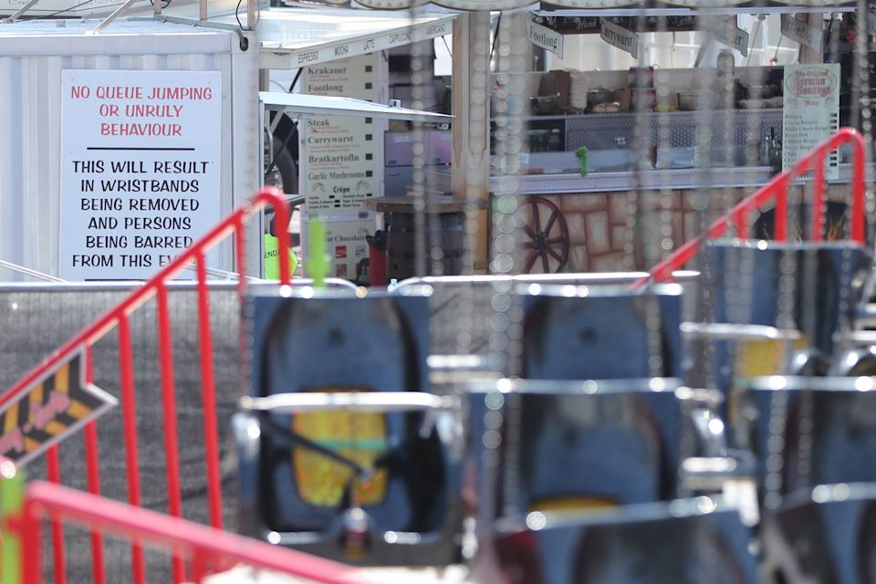 An information sign next to the Star Flyer funfair ride at Planet Fun in Carrickfergus, Co Antrim, which collapsed on Saturday evening, injuring six people. Picture date: Sunday July 25, 2021. (Photo by Niall Carson/PA Images via Getty Images)