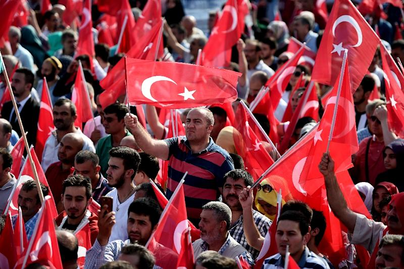 "People wave the Turkish national flag at an ""anti-terorrism"" rally in Istanbul on September 20, 2015 (AFP Photo/Ozan Kose)"
