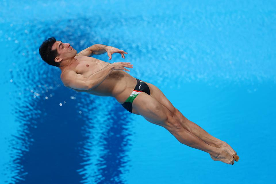 TOKYO, JAPAN - AUGUST 02: Rommel Pacheco Marrufo of Team Mexico competes in the Men's 3m Springboard Preliminary Round on day ten of the Tokyo 2020 Olympic Games at Tokyo Aquatics Centre on August 02, 2021 in Tokyo, Japan. (Photo by Clive Rose/Getty Images)