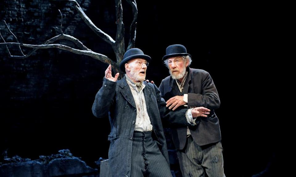 Patrick Stewart as Vladimir and Ian McKellen as Estragon in Waiting for Godot at the Theatre Royal Haymarket, London, in 2009.