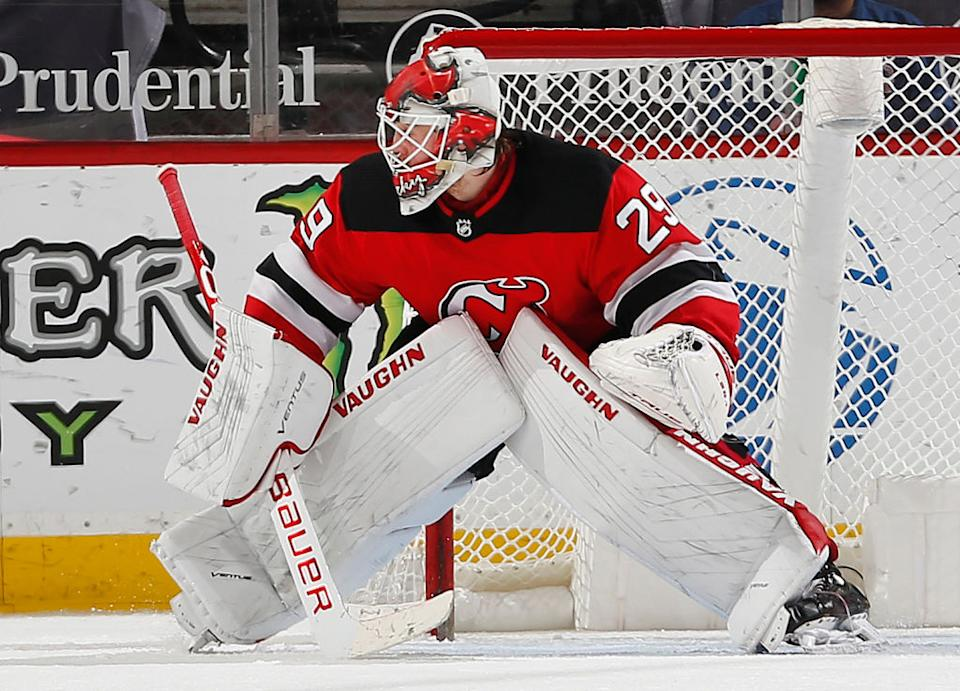 The Devils could be without their No. 1 netminder whenever they play in Canada as Blackwood remains New Jersey's lone unvaccinated player. (Getty)