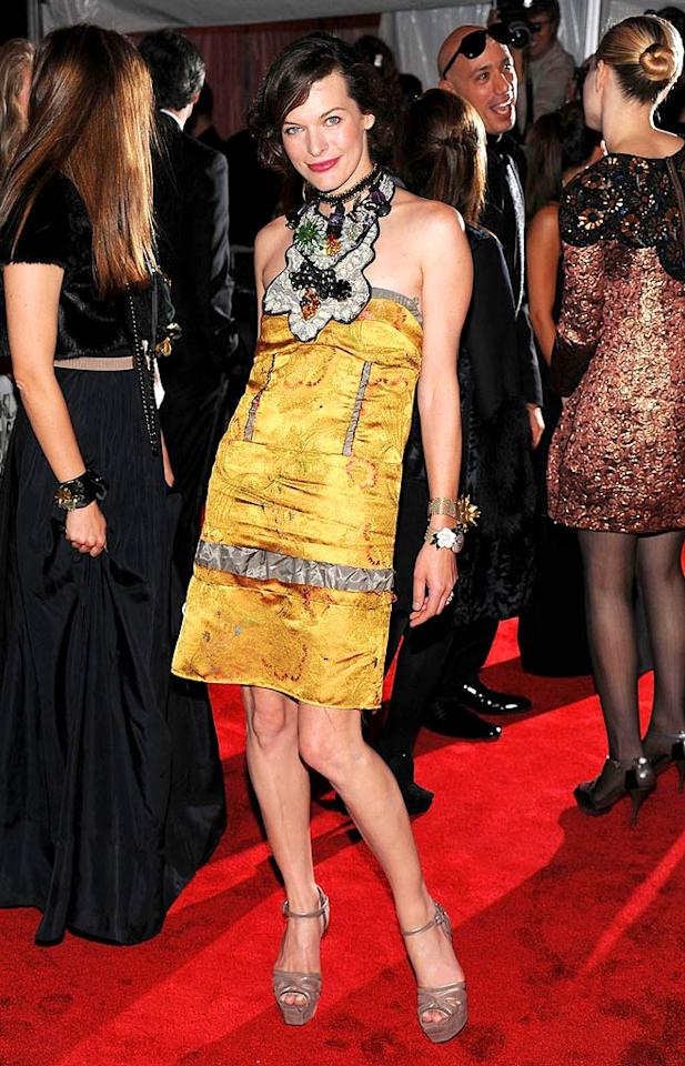 "Milla Jovovich took a risk by wearing a busy Marni dress, but it paid off! Dimitrios Kambouris/<a href=""http://www.filmmagic.com/"" target=""new"">FilmMagic.com</a> - May 4, 2009"