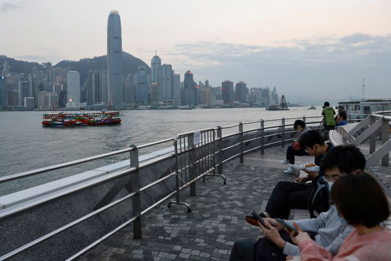 FILE PHOTO: General view of the central financial district during sunset, in Hong Kong