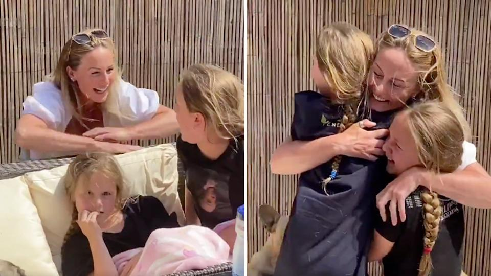 A hospital worker reunited with her children after 9 weeks of not seeing them during the covid pandemic