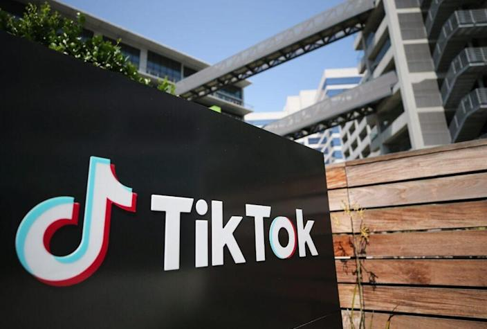 The TikTok logo is displayed outside a TikTok office on August 27, 2020 in Culver City, California. The Chinese-owned company is reportedly set to announce the sale of U.S. operations of its popular social media app in the coming weeks following threats of a shutdown by the Trump administration. (Photo by Mario Tama/Getty Images)