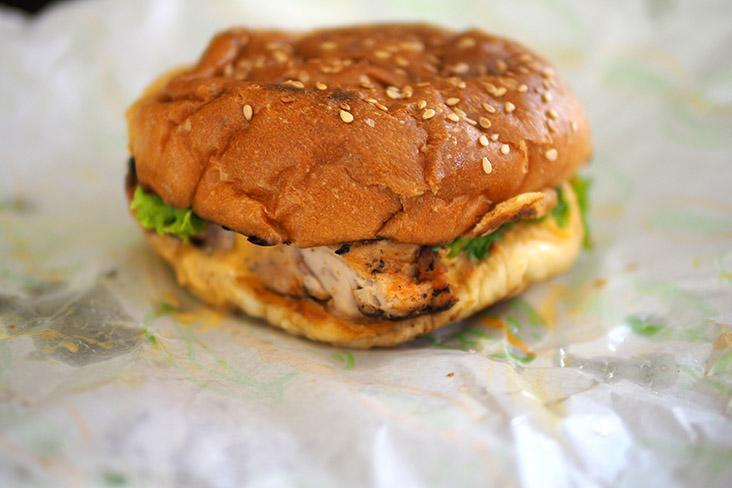 There are two burgers on the menu and this one is a tender, juicy grilled boneless chicken marinated with Cajun spices