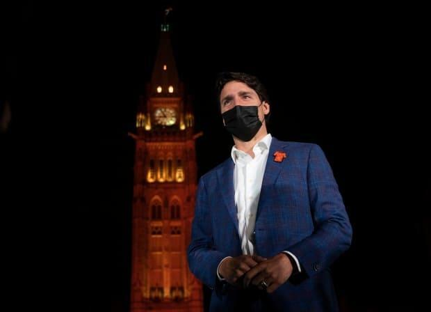 The Peace Tower glows orange as Canadian Prime Minister Justin Trudeau participates in a ceremony on Parliament Hill on the eve of the first National Day of Truth and Reconciliation on Sept. 29. (Adrian Wyld/The Canadian Press - image credit)
