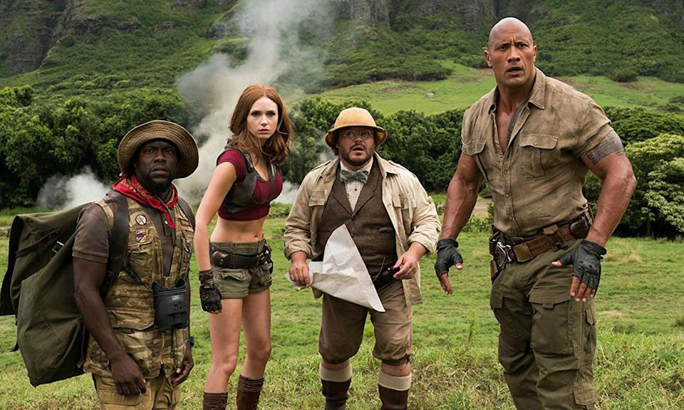 Kevin Hart, Karen Gillan, Jack Black and Dwayne Johnson star in Jumanji: Welcome to the Jungle. (Sony Pictures)