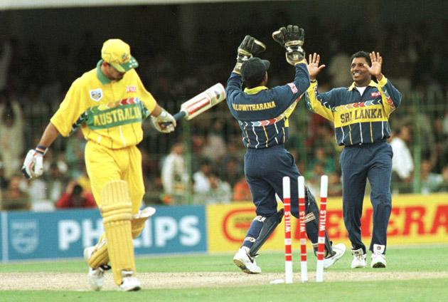 17 March 1996:   Aravinda De Silva of Sri Lanka celebrates with Kaluwitharana after bowling Ricky Ponting during the Cricket World Cup Final between Australia and Sri Lanka played at the Gaddafi stadium in Lahore. Mandatory Credit: Shaun Botterill/ALLSPORT