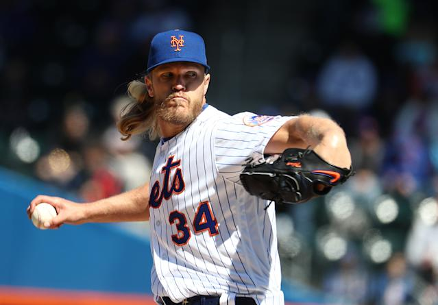 "<h1 class=""title"">Washington Nationals v New York Mets</h1> <div class=""caption""> NEW YORK, NEW YORK - APRIL 04: Noah Syndergaard #34 of the New York Mets pitches against the Washington Nationals during the Mets Home Opening game at Citi Field on April 04, 2019 in New York City. (Photo by Al Bello/Getty Images) </div> <cite class=""credit"">Al Bello</cite>"