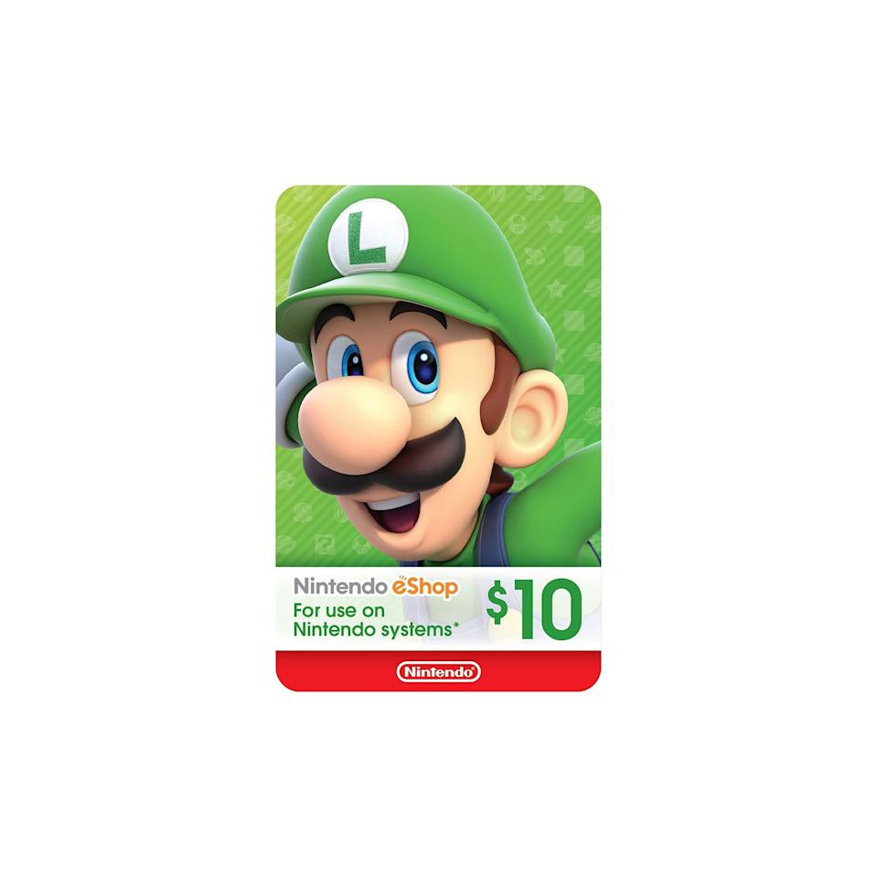 """The only thing more exciting than receiving a Nintendo Switch is finding a gift card to the Nintendo Shop included. $10, Amazon. <a href=""""https://www.amazon.com/Nintendo-eShop-Gift-Card-Digital/dp/B01LZNGPY3/ref=zg_bs_videogames_home_3?"""" rel=""""nofollow noopener"""" target=""""_blank"""" data-ylk=""""slk:Get it now!"""" class=""""link rapid-noclick-resp"""">Get it now!</a>"""