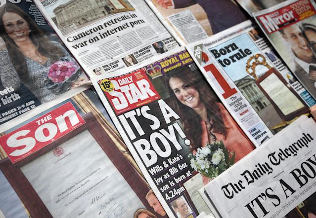 BRISTOL, ENGLAND - JULY 23: In this photo illustration, the front pages of the UK national newspaper titles are displayed on July 23, 2013 in Bristol, England. Catherine, Duchess of Cambridge yesterday gave birth to a boy at 16.24 BST and weighing 8lb 6oz, with Prince William, Duke of Cambridge at her side. The baby, as yet unnamed, is third in line to the throne and becomes the Prince of Cambridge. (Photo by Matt Cardy/Getty Images)
