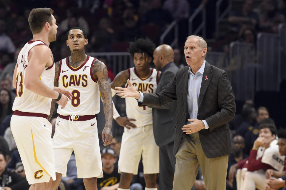 CLEVELAND, OHIO - OCTOBER 30: Matthew Dellavedova #18 and Jordan Clarkson #8 listen to head coach John Beilein of the Cleveland Cavaliers during the first half against the Chicago Bulls at Rocket Mortgage Fieldhouse on October 30, 2019 in Cleveland, Ohio. NOTE TO USER: User expressly acknowledges and agrees that, by downloading and/or using this photograph, user is consenting to the terms and conditions of the Getty Images License Agreement. (Photo by Jason Miller/Getty Images)