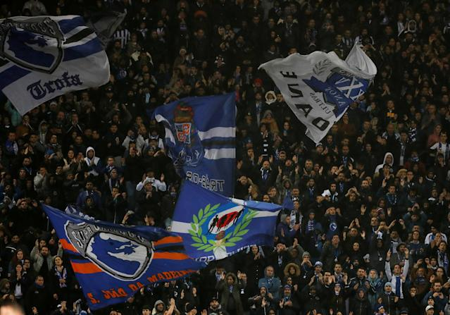 Soccer Football - Champions League Round of 16 First Leg - FC Porto vs Liverpool - Estadio do Dragao, Porto, Portugal - February 14, 2018 General view of Porto fans waving flags Action Images via Reuters/Matthew Childs