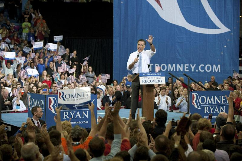 Republican presidential candidate, former Massachusetts Gov. Mitt Romney speaks during a campaign rally at the Pensacola Bay Center in Pensacola Fla., Saturday, Oct. 27, 2012. (AP Photo/Michael Spooneybarger)
