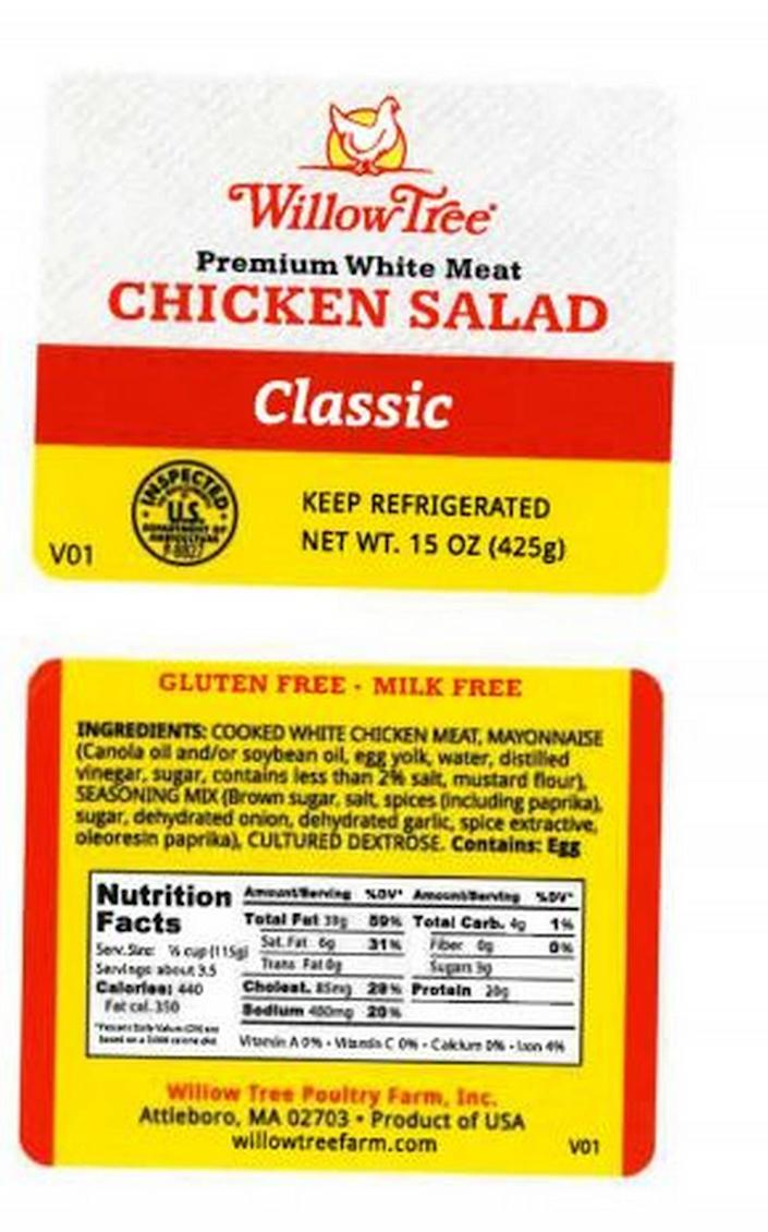 The label on recalled Willow Tree Premium White Meat Chicken Salad Classic