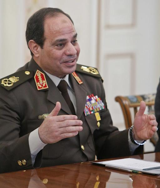 Egyptian Army chief Field Marshal Abdel Fattah al-Sisi speaks at a meeting with Russian President Vladimir Putin at the Novo-Ogaryovo state residence outside Moscow, Thursday, Feb. 13, 2014. Russian President Vladimir Putin on Thursday wished Egypt's military chief victory in the nation's presidential vote as Moscow sought to expand its military and other ties with a key U.S. ally in the Middle East. (AP Photo/ Maxim Shemetov, Pool)