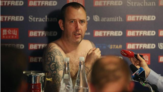 After keeping his promise to do his press conference naked, Mark Williams joked he would cartwheel nude if he won next year's tournament.