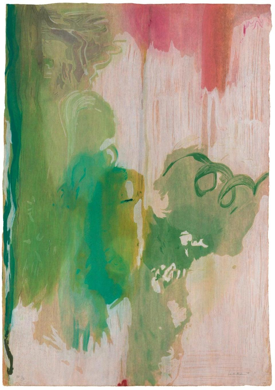 Helen Frankenthaler, Snow Pines, 2004. Thirty-four color woodcut (© 2021 Helen Frankenthaler Foundation, Inc. / ARS, NY and DACS, London / Pace Editions, Inc., NY)