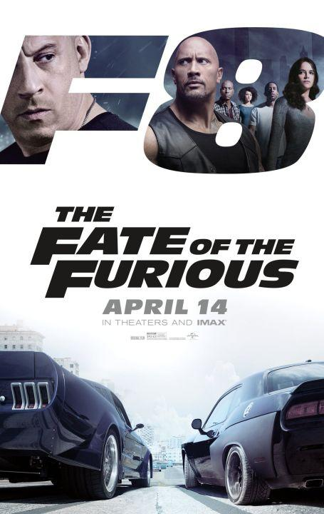 """Theatrical poster for """"The Fate of the Furious,"""" eighth in the """"Fast and Furious"""" franchise, and also known as """"F8"""""""