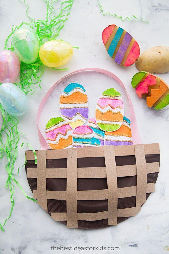 """<p>Use a carving knife to create egg-shaped stamp designs on potato halves, then let your creative kiddos take the reigns. </p><p><strong>Get the tutorial at <a href=""""https://www.thebestideasforkids.com/easter-paper-plate-basket/"""" rel=""""nofollow noopener"""" target=""""_blank"""" data-ylk=""""slk:The Best Ideas for Kids"""" class=""""link rapid-noclick-resp"""">The Best Ideas for Kids</a>. </strong></p><p><strong><a class=""""link rapid-noclick-resp"""" href=""""https://www.amazon.com/color-glitter-glue-milliliter-bottles/dp/B01HTYG3LE/?tag=syn-yahoo-20&ascsubtag=%5Bartid%7C10050.g.1111%5Bsrc%7Cyahoo-us"""" rel=""""nofollow noopener"""" target=""""_blank"""" data-ylk=""""slk:SHOP GLITTER GLUE"""">SHOP GLITTER GLUE</a><br></strong></p>"""