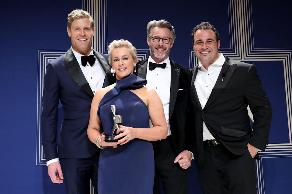 Chris Brown, Amanda Keller, Barry Du Bois and Miguel Maestre pose with the Logie Award for Best Lifestyle Program for 'The Living Room' during the 59th Annual Logie Awards at Crown Palladium on April 23, 2017 in Melbourne, Australia.