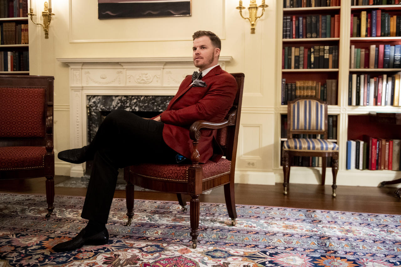 WASHINGTON, DC - MAY 9: Brock Holt #12 of the Boston Red Sox takes a tour during a visit to the White House in recognition of the 2018 World Series championship on May 9, 2019 in Washington, DC. (Photo by Billie Weiss/Boston Red Sox/Getty Images)