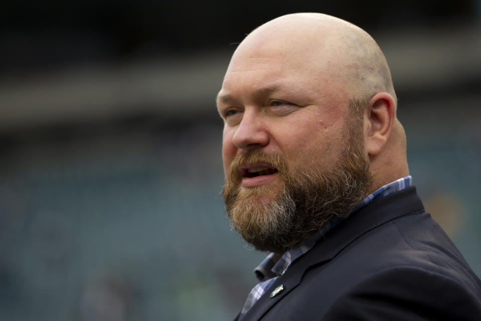 Is Jets GM Joe Douglas, pictured, prepared to part with several of his draft picks and more to land Deshaun Watson? (Photo by Mitchell Leff/Getty Images)