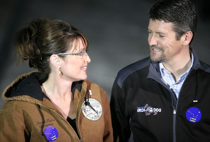 From left: Sarah and Todd Palin in 2008
