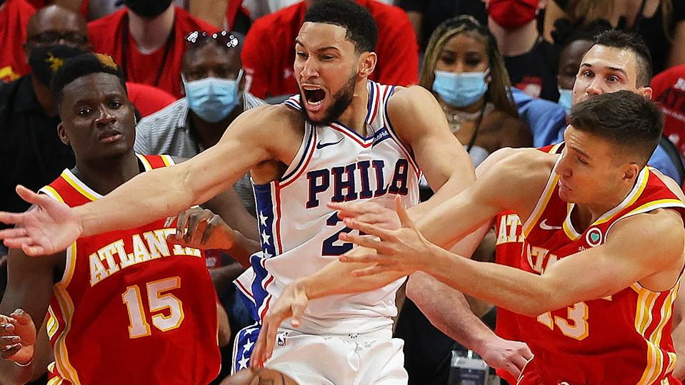 Ben Simmons is yet to commit to playing for Australia at the upcoming Tokyo Olympics, with his indecisiveness irritating former NBA star Andrew Bogut. (Photo by Kevin C. Cox/Getty Images)