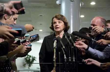 Feinstein speaks after a full-Senate briefing by NSA's Alexander at the U.S. Capitol in Washington