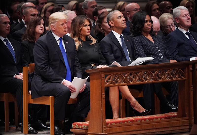 From left: President Donald Trump and first lady Melania Trump, former President Barack Obama, former first lady Michelle Obama and former President Bill Clinton are seen during a service for former President George H.W. Bush on Wednesday. (MANDEL NGAN via Getty Images)