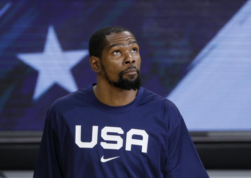 LAS VEGAS, NEVADA - JULY 18:  Kevin Durant #7 of the United States is introduced before an exhibition game against Spain at Michelob ULTRA Arena ahead of the Tokyo Olympic Games on July 18, 2021 in Las Vegas, Nevada. The United States defeated Spain 83-76.  (Photo by Ethan Miller/Getty Images)