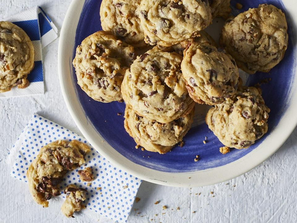 "<p><strong>Recipe: </strong><a href=""https://www.southernliving.com/recipes/brown-butter-chocolate-chip-cookies"" rel=""nofollow noopener"" target=""_blank"" data-ylk=""slk:Brown Butter Chocolate Chip Cookies"" class=""link rapid-noclick-resp""><strong>Brown Butter Chocolate Chip Cookies</strong></a></p> <p>This new recipe is quickly becoming an all-time favorite amongst readers, and every budding baker needs a go-to chocolate chip cookie recipe on hand.</p>"