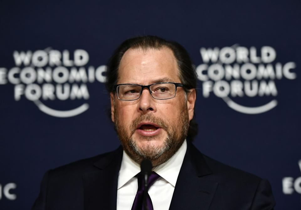 Marc Benioff of the United States, Chairman and CEO of Salesforce.com, delivers a speech at the World Economic Forum in Davos, Switzerland, on January 22, 2020. (Photo by Fabrice COFFRINI / AFP) (Photo by FABRICE COFFRINI/AFP via Getty Images)