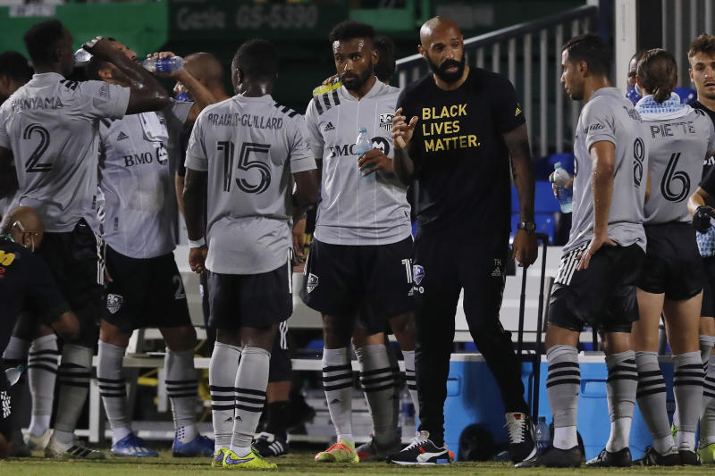 First-year manager Thierry Henry guided the Montreal Impact out of the MLS is Back group stage. (Photo by Michael Reaves/Getty Images)