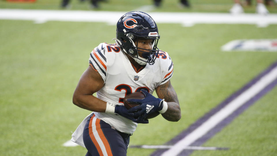 Chicago Bears running back David Montgomery runs up field during an NFL football game against the Minnesota Vikings, Sunday, Dec. 20, 2020, in Minneapolis. (AP Photo/Bruce Kluckhohn)
