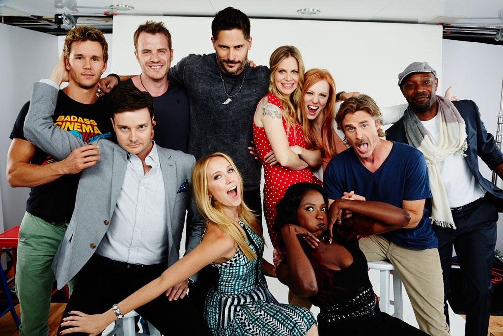 "Ryan Kwanten, Rob Kazinksky, Joe Manganiello, Kristen Bauer van Straten, Deborah Ann Woll, Nelsan Ellis, Michael McMillian, Anna Camp, Rutina Wesley, and Sam Trammell of ""True Blood"" posing for TV Guide at the 2013 Comic-Con International Convention."