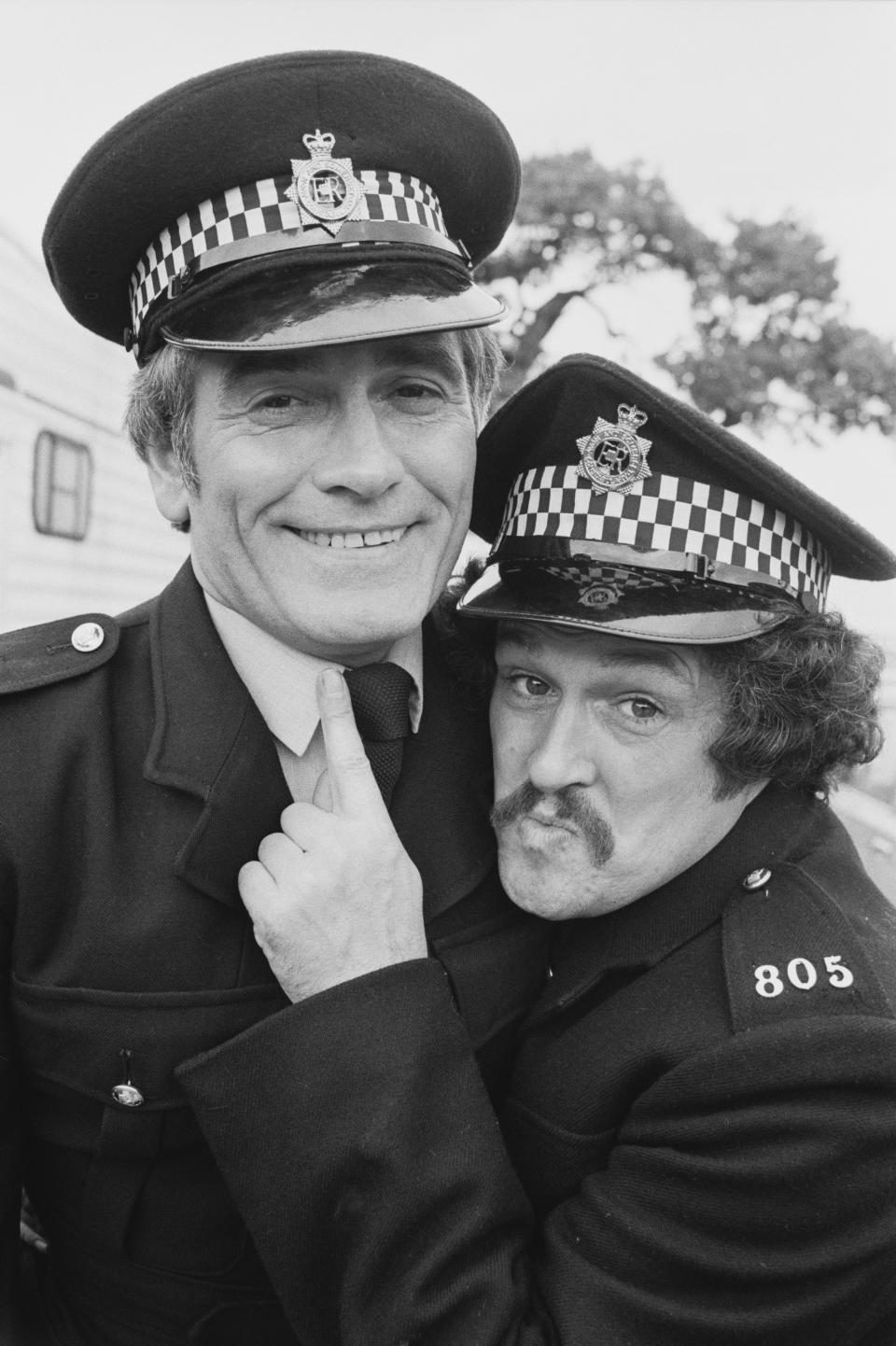 'Cannon and Ball', English comedian, actor, and singer Bobby Ball and English comedian and singer Tommy Cannon, co-stars in movie 'The Boys in Blue', UK, 13th November 1982. (Photo by Hilaria McCarthy/Daily Express/Hulton Archive/Getty Images)