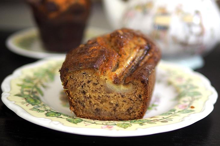 The banana loaf cake has a lovely, moist crumb with a slight sweetness from the sliced whole banana on top.