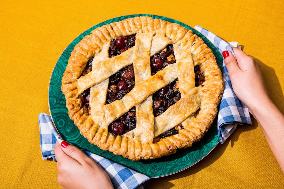 Mincemeat can be purchased at specialty baking shops, or made with a combination of dried fruits, rum or brandy, brown sugar, and baking spices. It's traditionally mixed with beef suet, but you can substitute butter or schmaltz.
