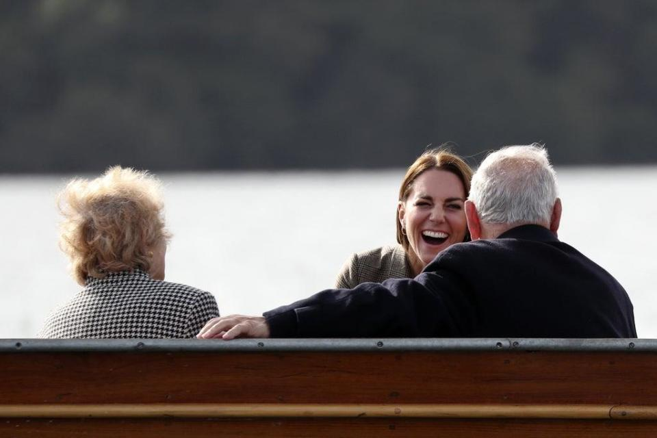 The Duchess of Cambridge (centre) takes a boat trip with Jean Hersh and Arek Hersh on Lake Windermere (Scott Heppell/PA) (PA Wire)