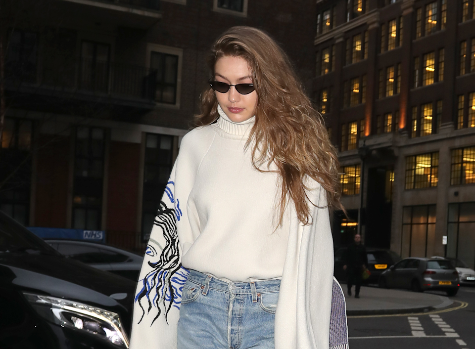 Gigi Hadid is seen on February 16, 2019 during London Fashion Week in London, England. (Photo: Mark R. Milan/GC Images)
