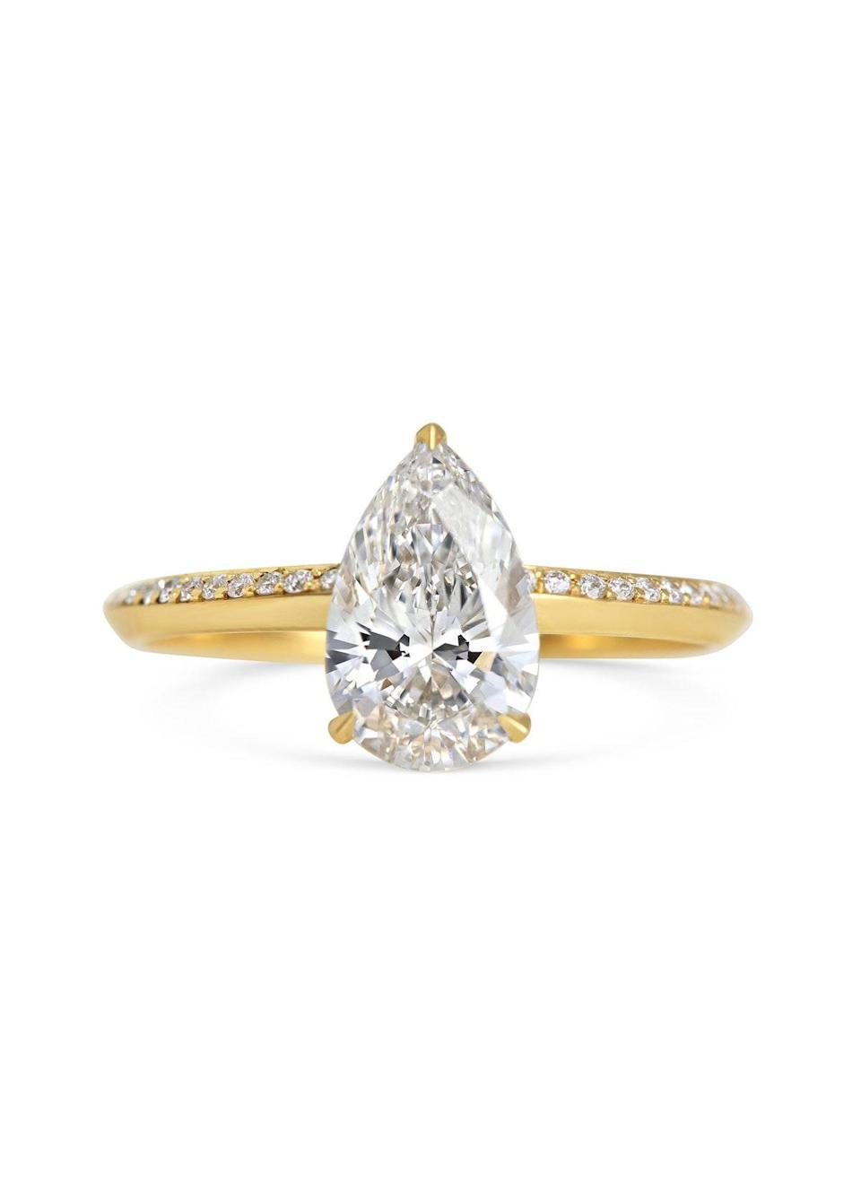 """Round diamonds have been one of the most popular engagement ring cuts for, well, <em>ever</em>. But Zimmerman says that fancy shapes—i.e., everything but classic round—are starting to trend. $9770, Rachel Boston. <a href=""""https://www.rachelboston.co.uk/collections/engagement-rings/products/lyra-ring"""" rel=""""nofollow noopener"""" target=""""_blank"""" data-ylk=""""slk:Get it now!"""" class=""""link rapid-noclick-resp"""">Get it now!</a>"""