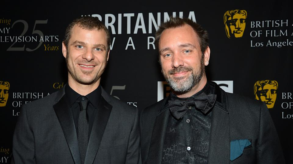 BEVERLY HILLS, CA - NOVEMBER 07: (L-R) Honorees Matt Stone and Trey Parker arrive at the 2012 BAFTA Los Angeles Britannia Awards Presented By BBC AMERICA at The Beverly Hilton Hotel on November 7, 2012 in Beverly Hills, California.